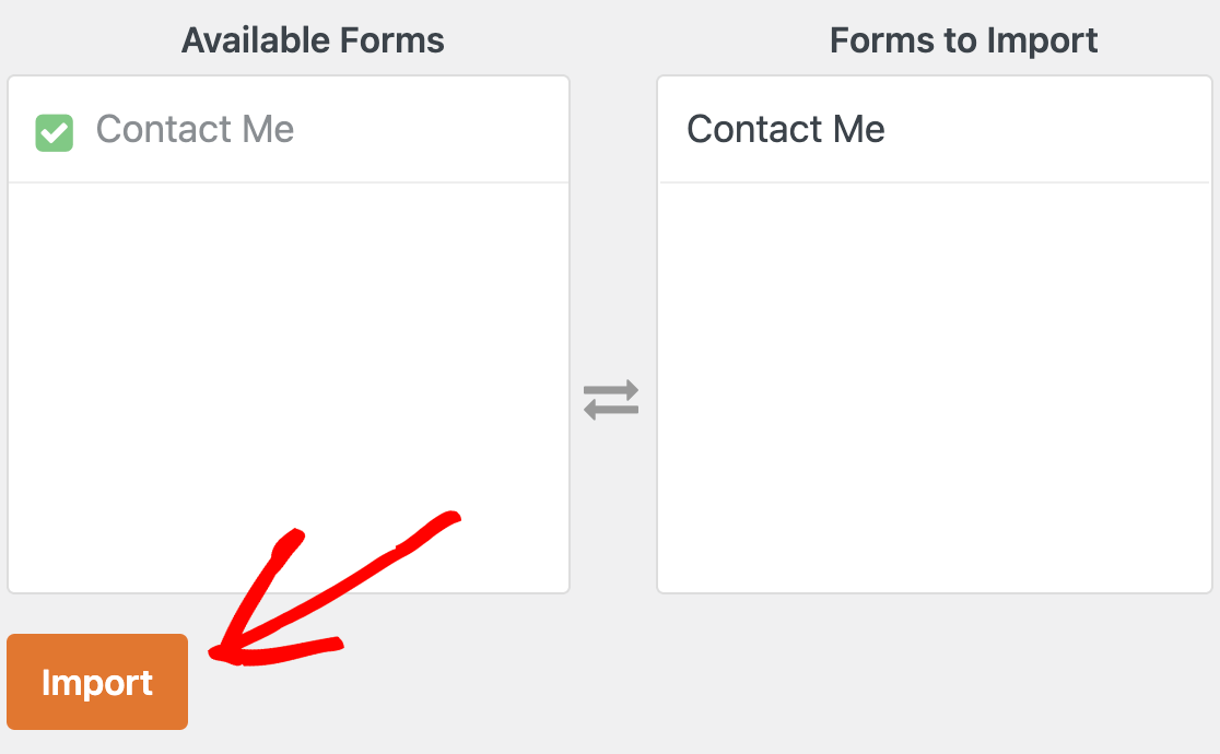Selecting forms from Contact Form 7 to import to WPForms