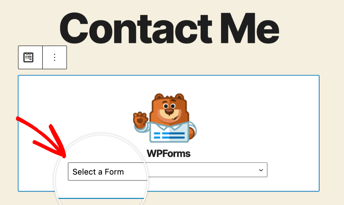Selecting a form from the WPForms block
