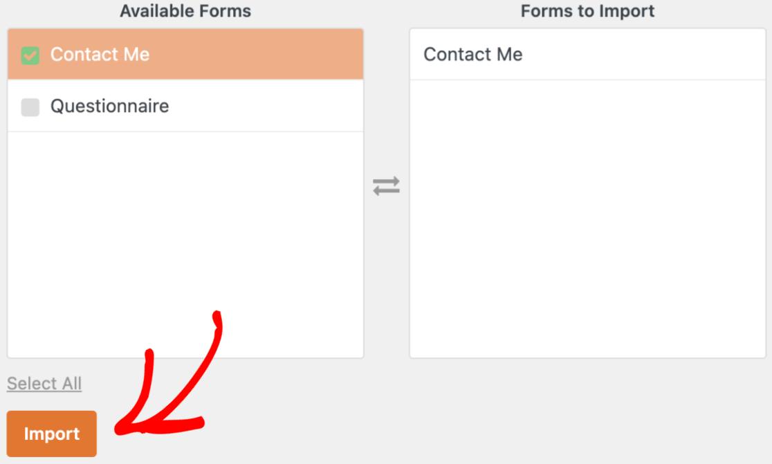 Choosing Ninja Forms to import