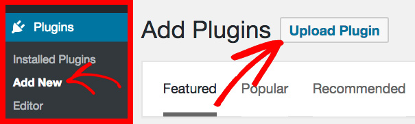 Upload a plugin in WordPress