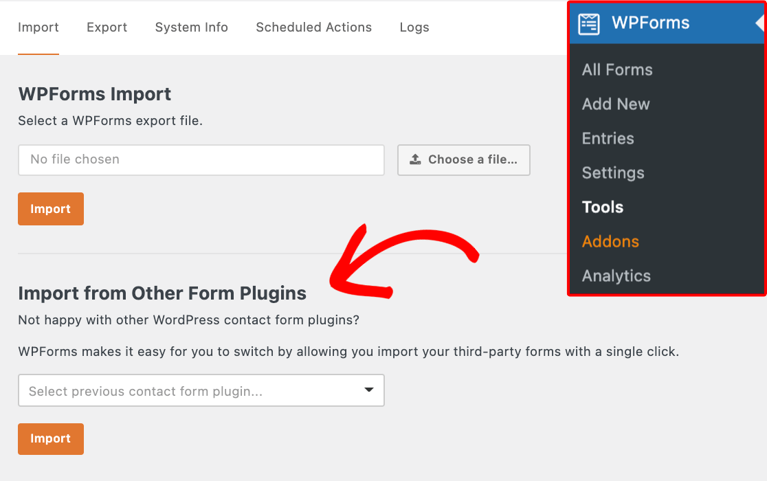 The WPForms Import from Other Form Plugins tool