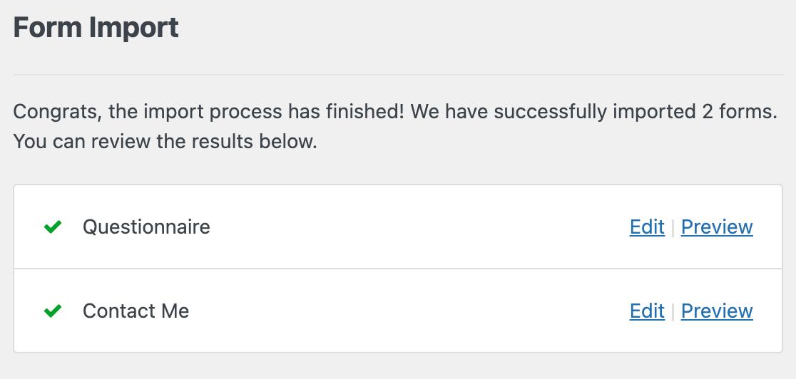 WPForms import confirmation