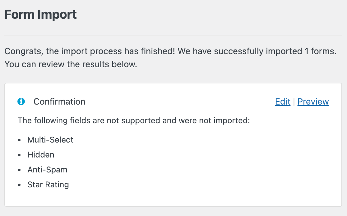 The following fields are not supported and were not imported message