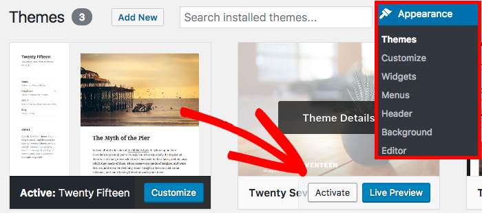Activate a default WordPress theme