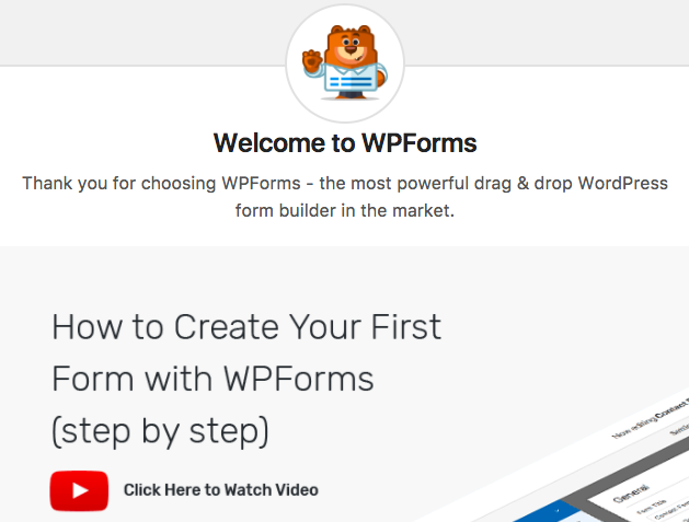 Activation welcome screen for WPForms