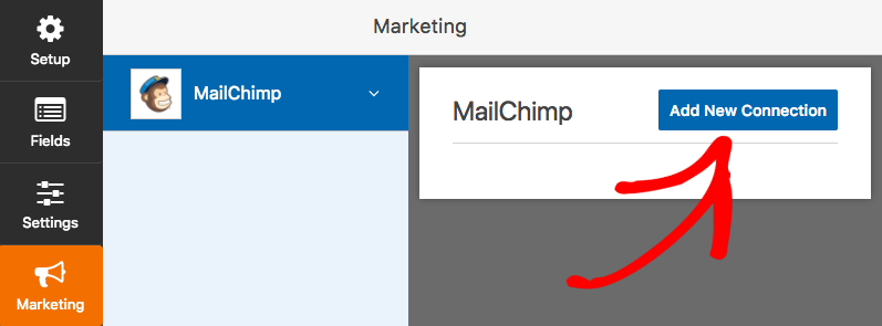Add new connection to MailChimp in WPForms form builder