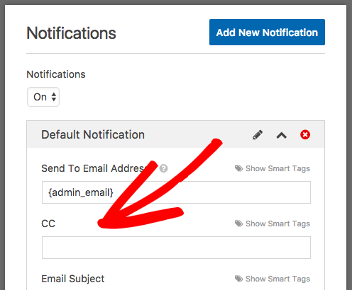 CC field in notification settings