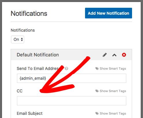 CC field in notification settings