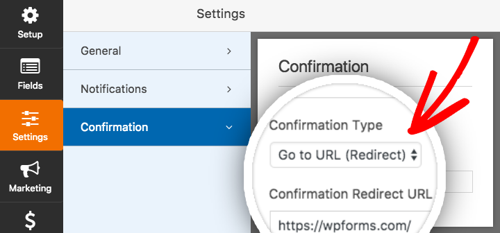 Confirmation Settings for redirect option