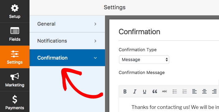 Confirmation settings in WPForms