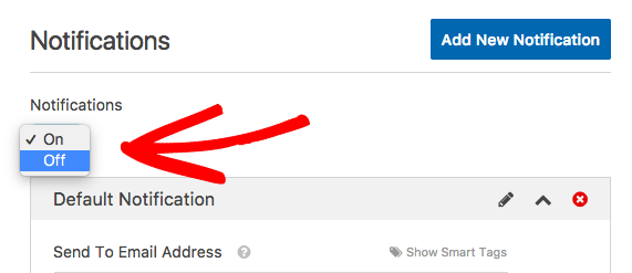 Disable notification emails for a form