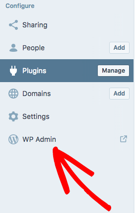 Open WP Admin from WordPress com