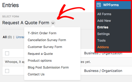 Select a form to view entries in WPForms