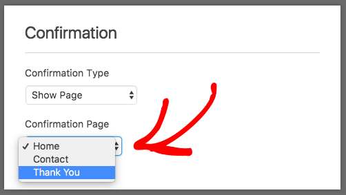 Show Page for WPForms Confirmation setting