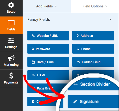 Signature field in WPForms form builder