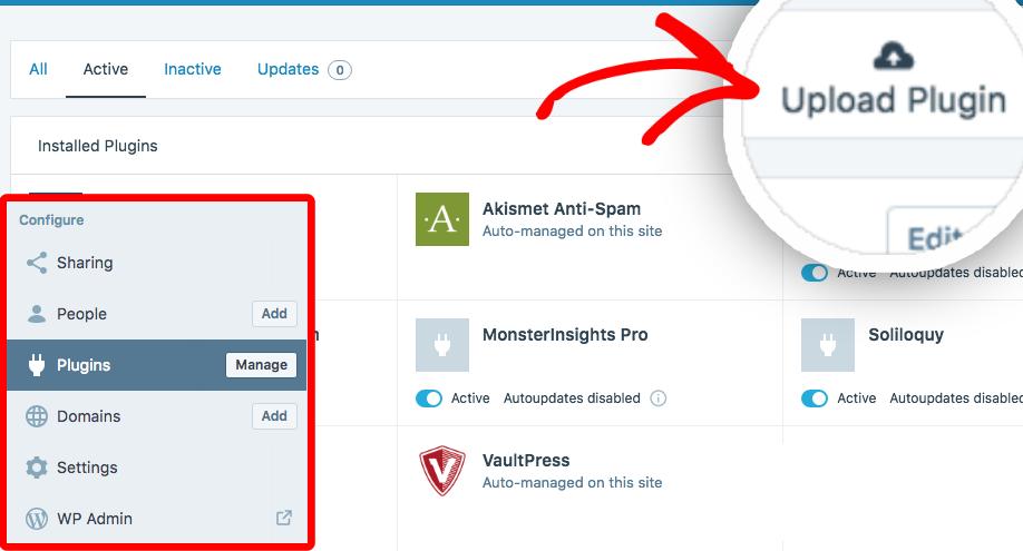 Upload a plugin on a WordPress com business site