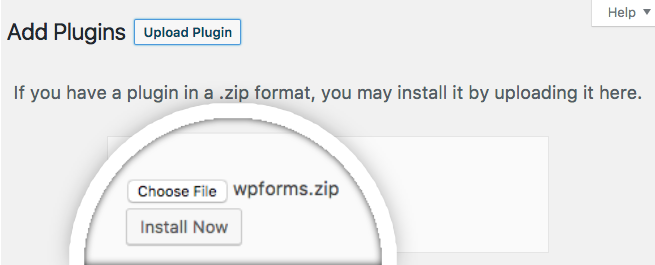 Upload the WPForms plugin to WordPress