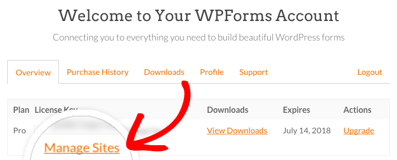 WPForms Account management page