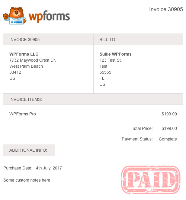 WPForms example invoice