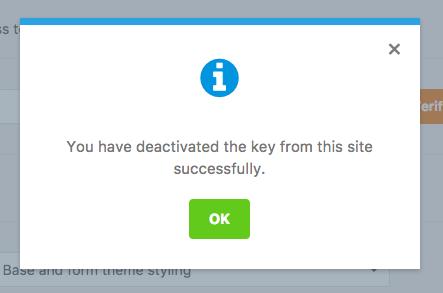 WPForms license deactivation confirmation