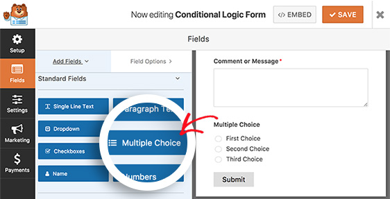 add multiple choice field