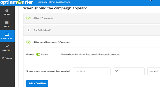 change display rules for donation popup form