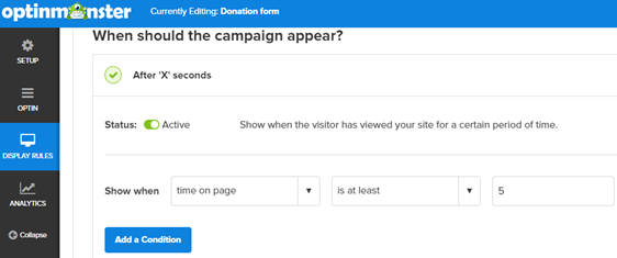change time settings for donation popup form
