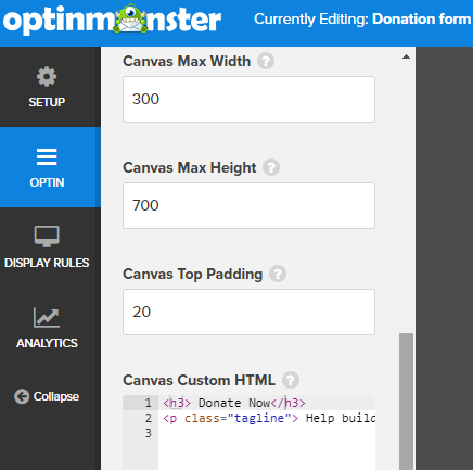 edit optin for donation popup