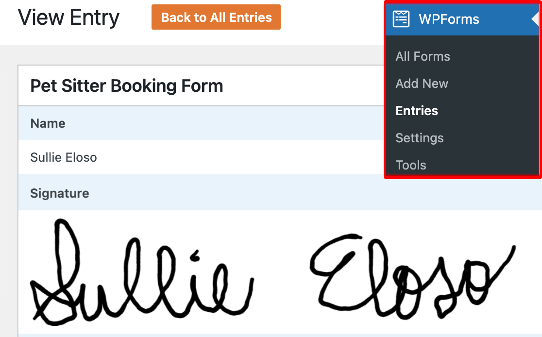 Viewing a user's signature in a form entry
