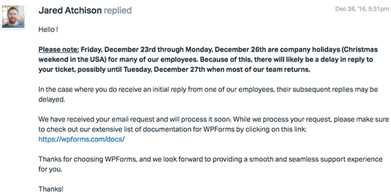 creating an office closed for holiday message template