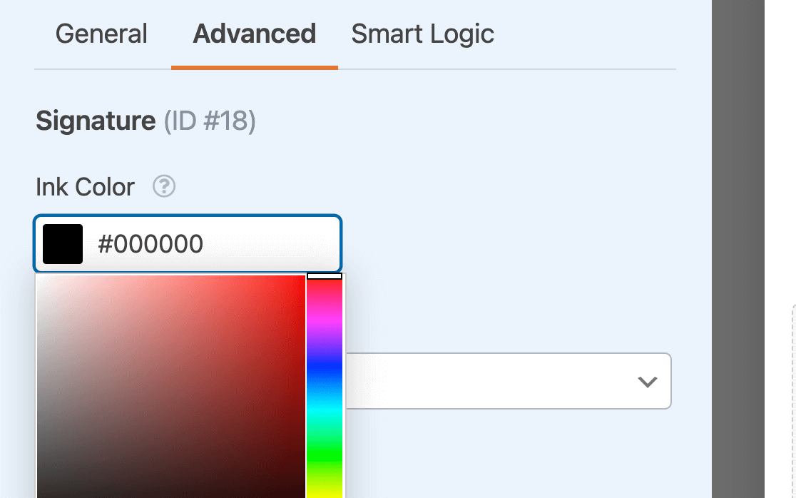 Choosing the ink color for the Signature field