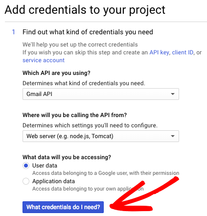 Add credentials to Gmail app project