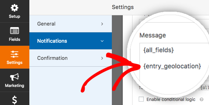 Add geolocation smart tag to notification email