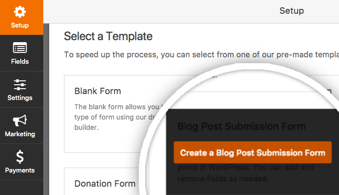 Create a new Blog Post Submission form