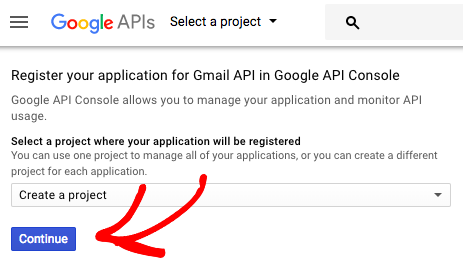Create a project for Gmail app registration