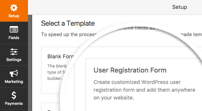 Create new form with User Registration template