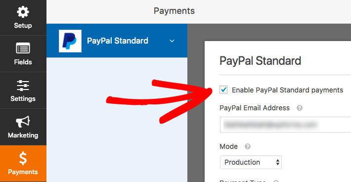 Enable PayPal payments for a form