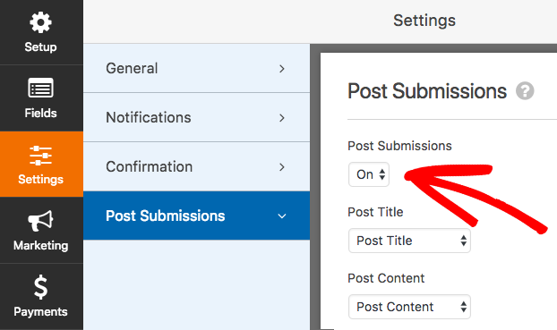 Enable Post Submissions in WPForms