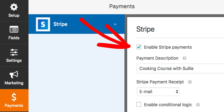 Enable Stripe payments in WPForms