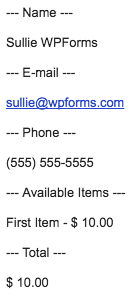 Example of a plain text email from WPForms
