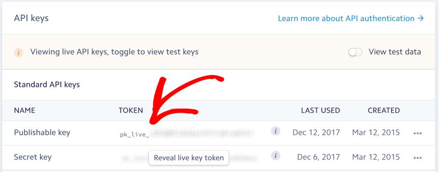 Live keys in Stripe account