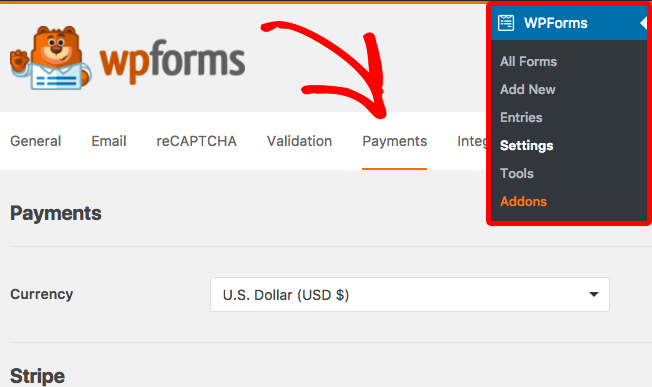 How to Install and Use the Stripe Addon with WPForms