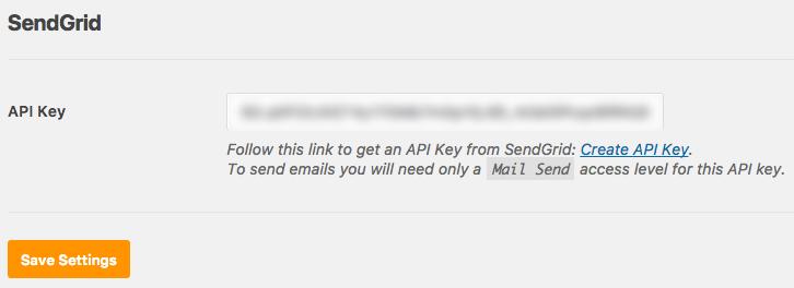 Paste in SendGrid API key and save settings