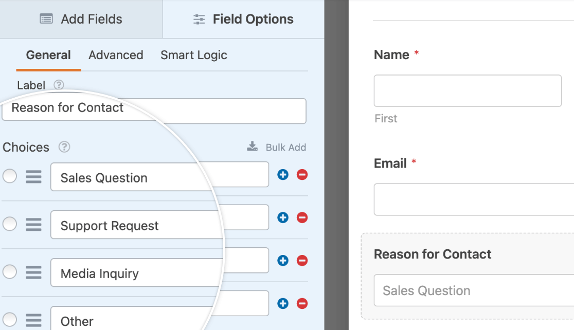 """A Dropdown field labeled """"Reason for Contact"""" with the options """"Sales Question,"""" """"Support Request,"""" """"Media Inquiry,"""" and """"Other"""""""