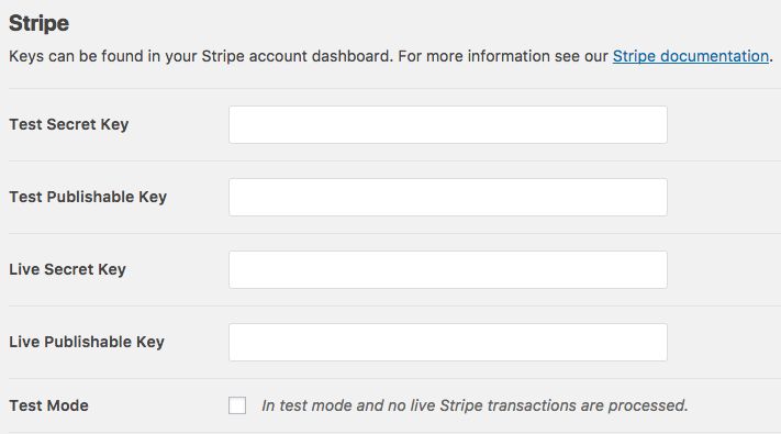 Stripe key fields in WPForms payment settings