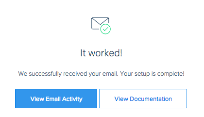Success message from SendGrid integration verification
