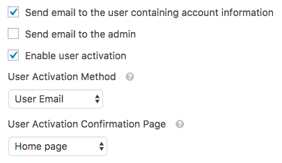 User activation settings for WPForms user registration