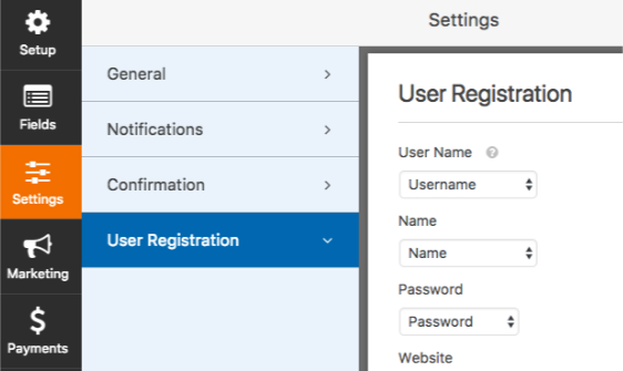 WPForms User Registration settings
