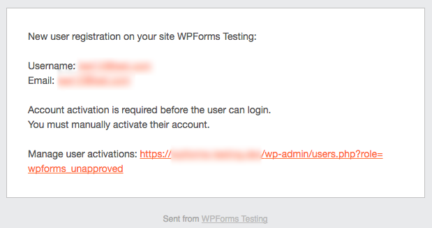 WPForms admin email for user registration