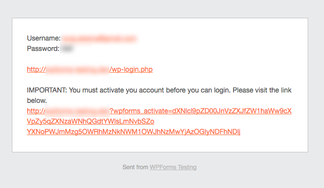 WPForms user activation email